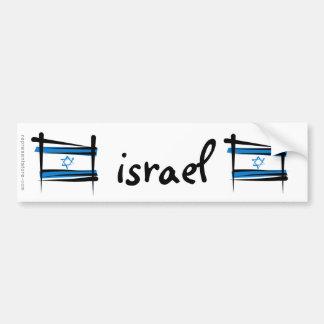 Israel Brush Flag Car Bumper Sticker