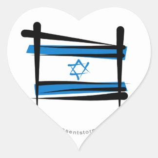 Israel Brush Flag Heart Sticker