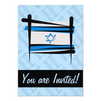 "Israel Brush Flag 5"" X 7"" Invitation Card"