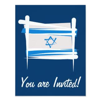 "Israel Brush Flag 4.25"" X 5.5"" Invitation Card"