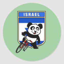 Round Sticker with Israel Cycling Panda design