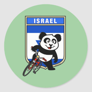 Israel Cycling Panda Round Stickers