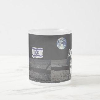 Israel en la luna taza de cristal