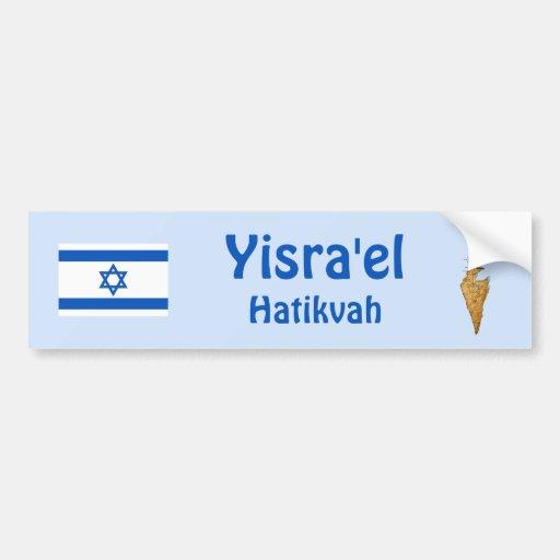 Israel Flag + Map Bumper Sticker Car Bumper Sticker