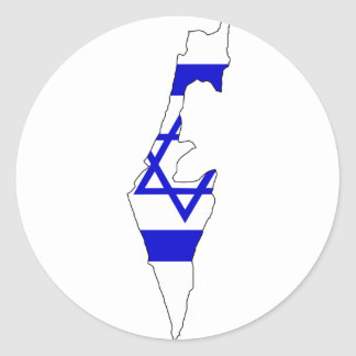 Israel flag map classic round sticker