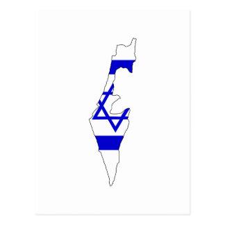 Israel flag map postcard