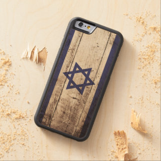 Israel Flag on Old Wood Grain Carved Maple iPhone 6 Bumper Case
