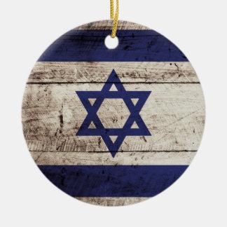 Israel Flag on Old Wood Grain Ceramic Ornament