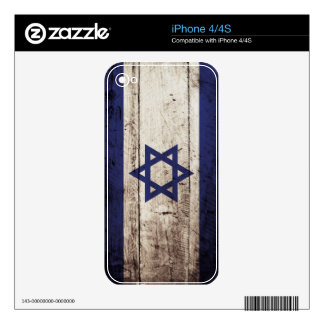 Israel Flag on Old Wood Grain Skin For iPhone 4S