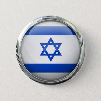 Israel Flag Round Glass Ball Pinback Button