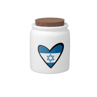 Israel heart Flag Candy Jars