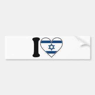 Israel Heart Flag Car Bumper Sticker