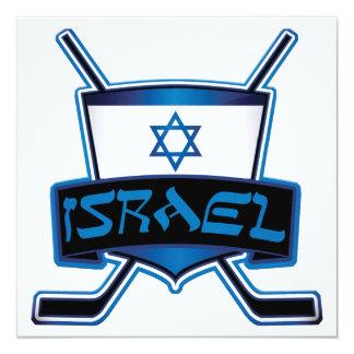 """Israel Ice Hockey Flag 5.25"""" Square Invitation Card"""