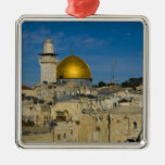 Israel, Jerusalem, Dome of the Rock Square Metal Christmas Ornament