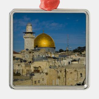Israel, Jerusalén, bóveda de la roca Adorno Cuadrado Plateado