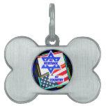 Israel,… mi herencia, los E.E.U.U.,… mi país Placas Mascota