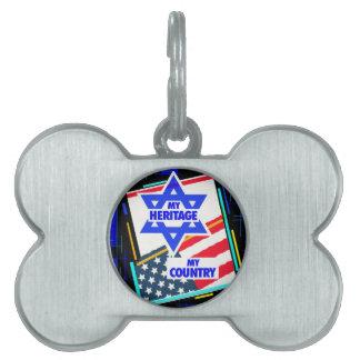 Israel,… mi herencia, los E.E.U.U.,… mi país Placa De Nombre De Mascota