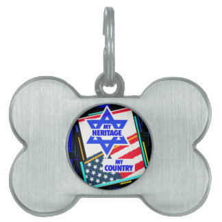 Israel,...my Heritage, USA,... my Country. Pet Name Tag