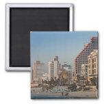 Israel, Tel Aviv, beachfront, hotels, dusk 2 Inch Square Magnet