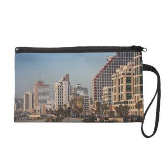 Israel Tel Aviv beachfront hotels dusk Wristlet Clutch
