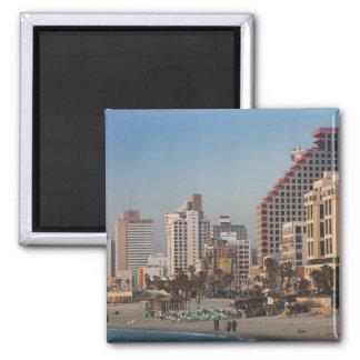 Israel, Tel Aviv, beachfront, hotels, dusk Magnet