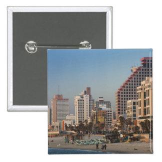 Israel, Tel Aviv, beachfront, hotels, dusk Pinback Button