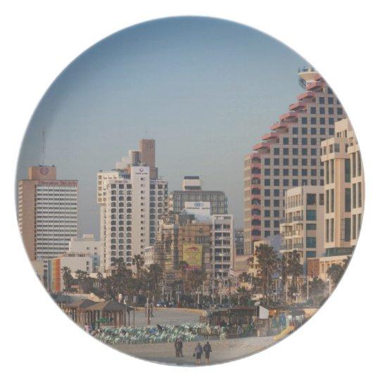 Israel, Tel Aviv, beachfront, hotels, dusk Plate