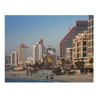 Israel, Tel Aviv, beachfront, hotels, dusk Postcard