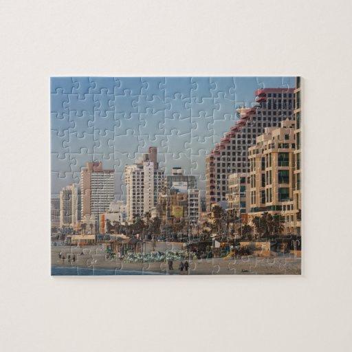 Israel, Tel Aviv, beachfront, hotels, dusk Puzzles