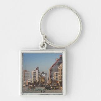 Israel, Tel Aviv, beachfront, hotels, dusk Silver-Colored Square Keychain
