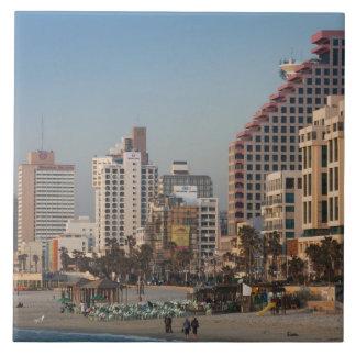 Israel, Tel Aviv, beachfront, hotels, dusk Ceramic Tile