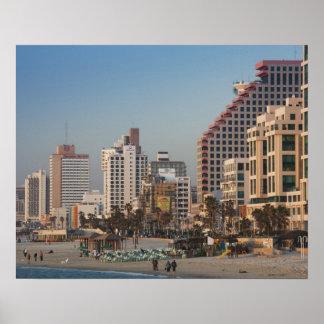 Israel, Tel Aviv, frente al mar, hoteles, oscurida Póster