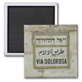 Israel - Via Dolorosa Christian pilgrims Jerusalem 2 Inch Square Magnet