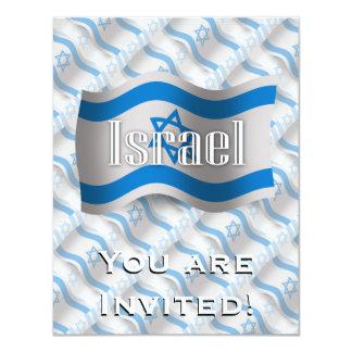 "Israel Waving Flag 4.25"" X 5.5"" Invitation Card"