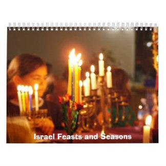 Israel y banquete y estaciones judíos calendarios de pared