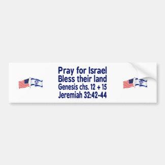 Israeli American Flag bumper sticker with verses