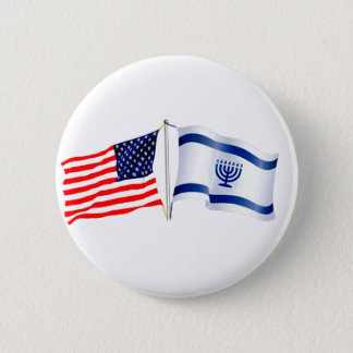 Israeli American flag collection Button