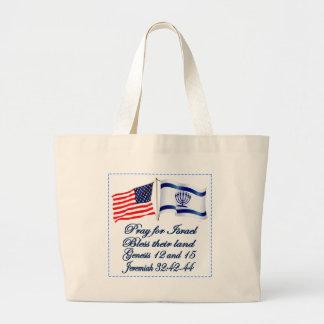 Israeli American flag collection Large Tote Bag