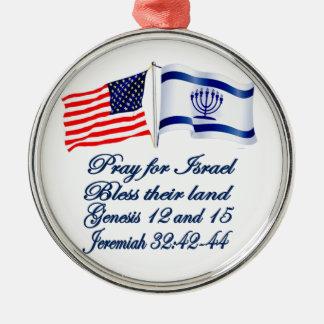 `Israeli American flag collection Metal Ornament