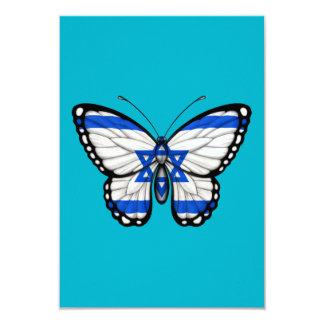 "Israeli Butterfly Flag 3.5"" X 5"" Invitation Card"