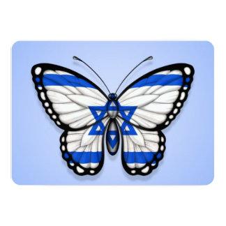 "Israeli Butterfly Flag on Blue 5"" X 7"" Invitation Card"
