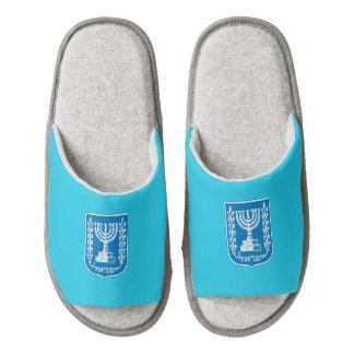 Israeli coat of arms slippers pair of open toe slippers