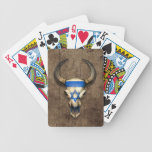 Israeli Flag Bull Skull on Wood Effect Bicycle Card Decks