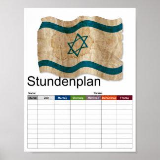 Israeli Flag in Vintage timetable Poster