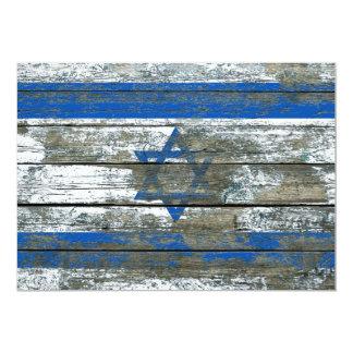 "Israeli Flag on Rough Wood Boards Effect 5"" X 7"" Invitation Card"