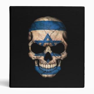 Israeli Flag Skull on Black 3 Ring Binders