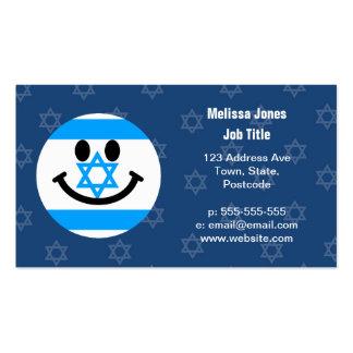 Israeli flag smiley face business card