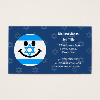 Israeli flag smiley face business card