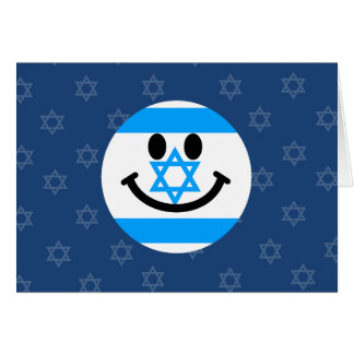 Israeli flag smiley face greeting cards