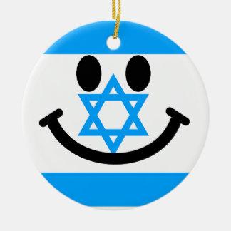 Israeli flag smiley face ceramic ornament